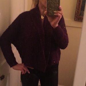 Express purple auburn cardigan M